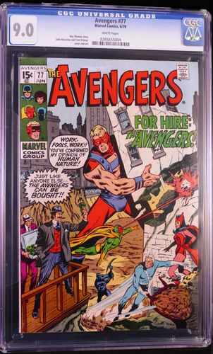Avengers # 77, CGC 9.0, white pages